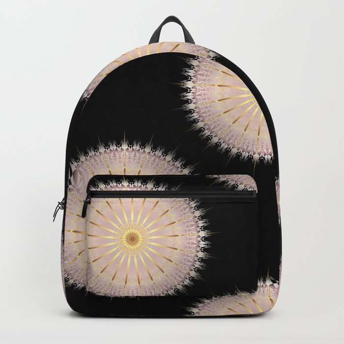 Blush Gold Black Mandala Backpack