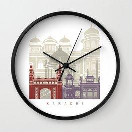 Karachi skyline poster Wall Clock