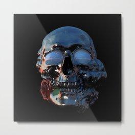 Tarnished Silver Skull Metal Print