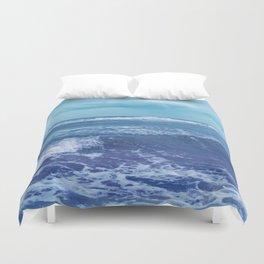 Blue Atlantic Ocean White Cap Waves Clouds in Sky Photograph Duvet Cover