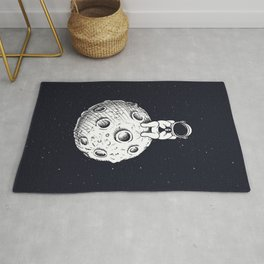 Astronaut with Mobile Phone on Moon Rug
