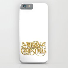 Merry Christmas - Gold glitter Typography iPhone 6s Slim Case