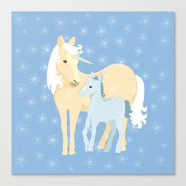 Unicorns. Mom and baby Canvas Print