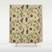 cacti Shower Curtains featuring Cacti by Alisse Ferrari