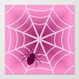 Spider web in pink Canvas Print