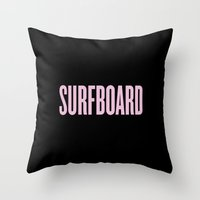 surfboard Throw Pillows featuring Surfboard by Marianna