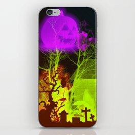Spooky Halloween Pumpkin and Haunted Barn iPhone Skin