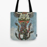 cthulu Tote Bags featuring In To The Blue by Mark R. Skipper