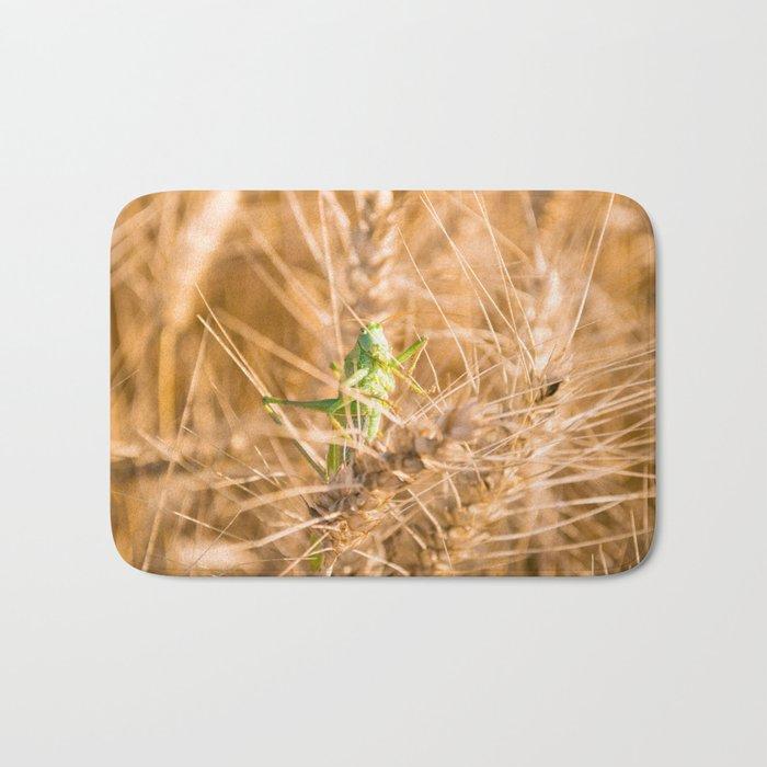 green grass hopper Bath Mat