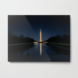 Washington Monument obelisk illuminated at night in Washington D.C. Metal Print