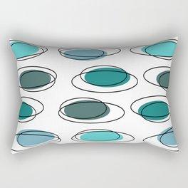 Mid Century Modern Ovals Scribbles Turquoise Rectangular Pillow