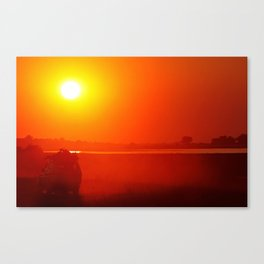 Driving into the sunset, Africa wildlife Canvas Print