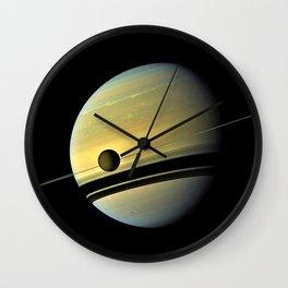 Saturn and its Moon Titan in Orbit Telescopic Photograph Wall Clock