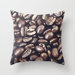 roasted coffee beans texture acrfn Throw Pillow