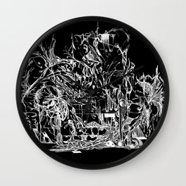 Botanic Curves (Black) Wall Clock