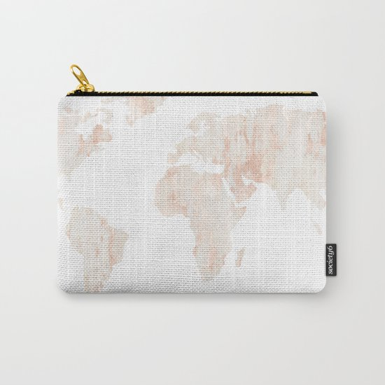 Marble World Map Light Pink Rose Gold Shimmer Carry-All Pouch