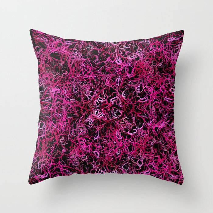 Hot Pink and Black Electric Lines Throw Pillow