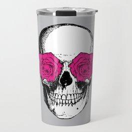 Skull and Roses | Grey and Pink Travel Mug