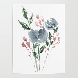 Old Blue Peonies Poster