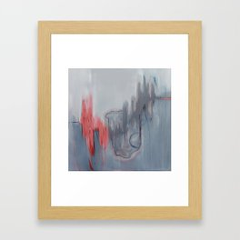 No. 15 Grey and Coral Ombre Pastel Abstract Painting  Framed Art Print