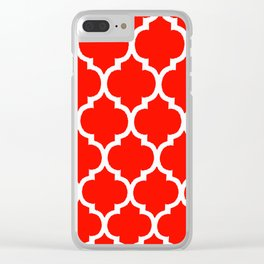 MOROCCAN RED AND WHITE PATTERN Clear iPhone Case