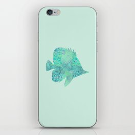 Butterflyfish Buttefly Fish Tropical Fish Vintage Floral Mint Teal Turquoise Blue iPhone Skin