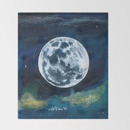 Full Moon Mixed Media Painting Throw Blanket