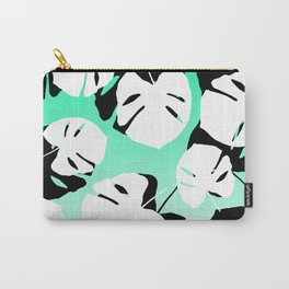Modern black white monstera tropical leaf on green white gradient Carry-All Pouch
