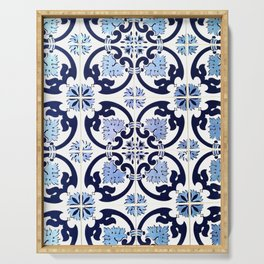 Azulejos, moroccan tiles, Painted tiles, blue, white, portugal Serving Tray
