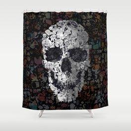 Doodle Skull Shower Curtain