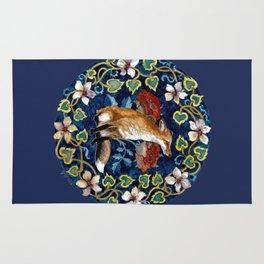 Fox and Flower Tapestry Original Watercolor Rug
