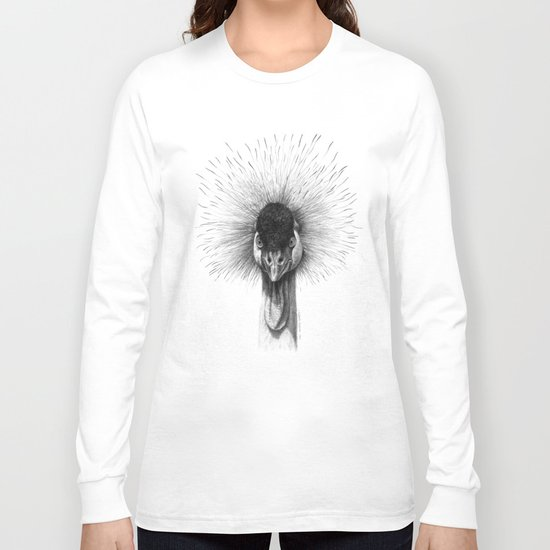 Black Crowned Crane G2012-065 Long Sleeve T-shirt