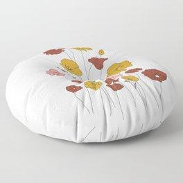 Colorful Poppy Flowers Floor Pillow