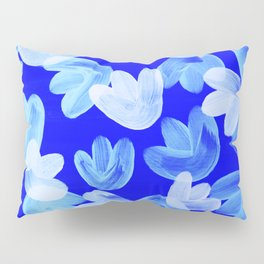 Acrylic Painting Layered Tulips Floral Pattern Shade of Blue Pillow Sham