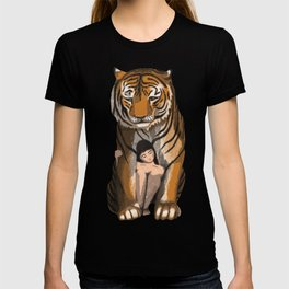 Tiger Woman Classical Painting T-shirt