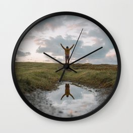 Reflection on a puddle Wall Clock