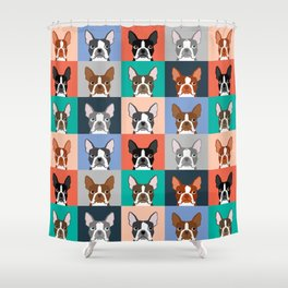 Boston Terriers tile pattern cute boston terrier puppies funny dog breed pet art gift for dog person Shower Curtain
