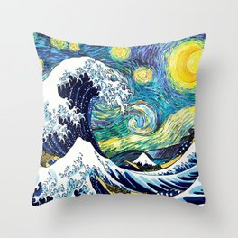 Starry Wave Night Throw Pillow