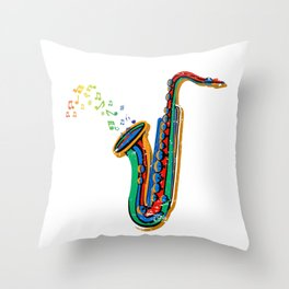 Colorful Music Notes From Saxophone Throw Pillow