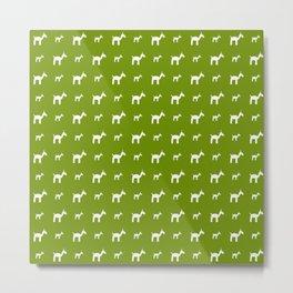 Llama 1- Green Metal Print