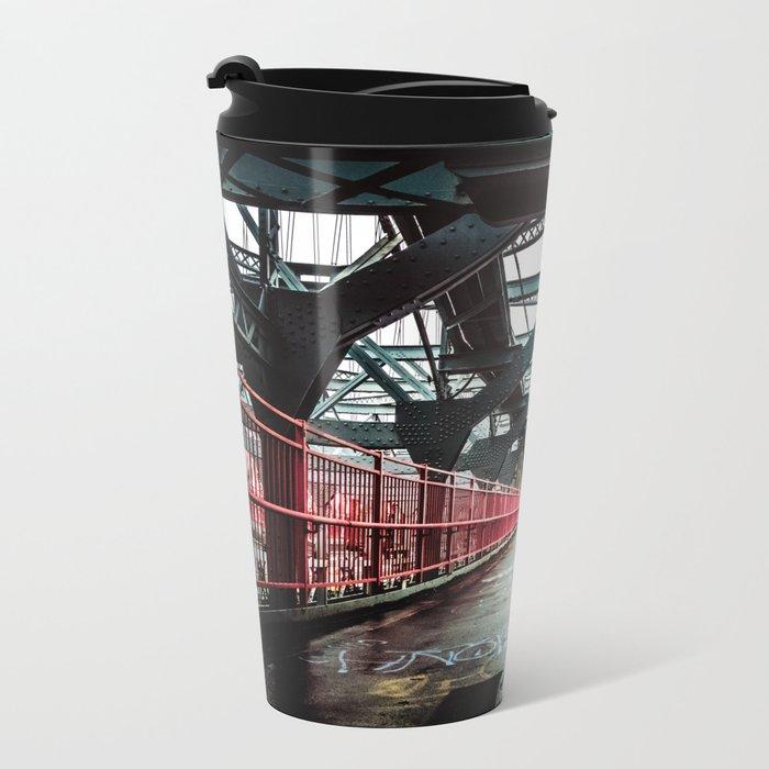 New York City Williamsburg Bridge in the Rain Metal Travel Mug