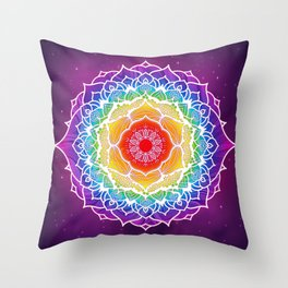 7 Chakra Mandala - WO Colored Throw Pillow