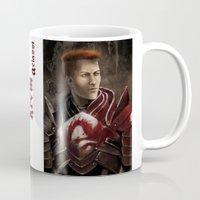 """dragon age inquisition Mugs featuring Krem - Dragon Age/Mass Effect crossover by Barbara """"Yuhime"""" Wyrowińska"""