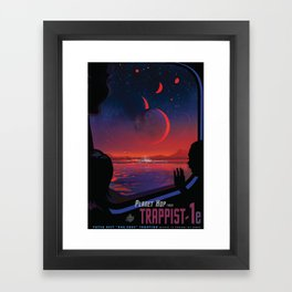 NASA Retro Space Travel Poster #13 - TRAPPIST-1e Framed Art Print