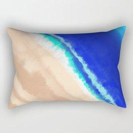Artsy Modern Blue Teal Sandy Beach Watercolor Rectangular Pillow