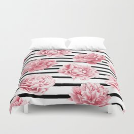 Simply Drawn Stripes and Roses Duvet Cover