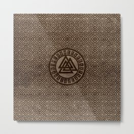 Valknut Symbol and Runes on Celtic Pattern on Wood Metal Print