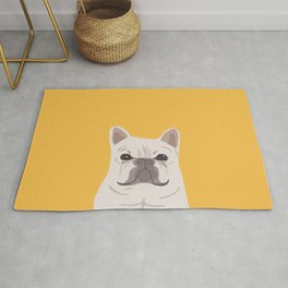 Frenchie on Yellow Rug