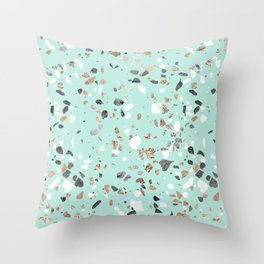 Glitter and Grit Marble Mint Green Throw Pillow