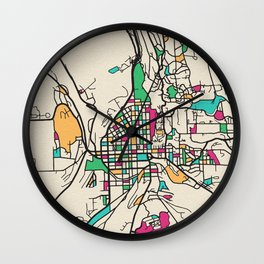 Colorful City Maps: Ithaca, New York Wall Clock